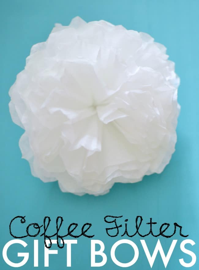 Create these simple, quick and inexpensive coffee filter bows to top all of your gifts. Such a easy way to make a gorgeous and special gift.