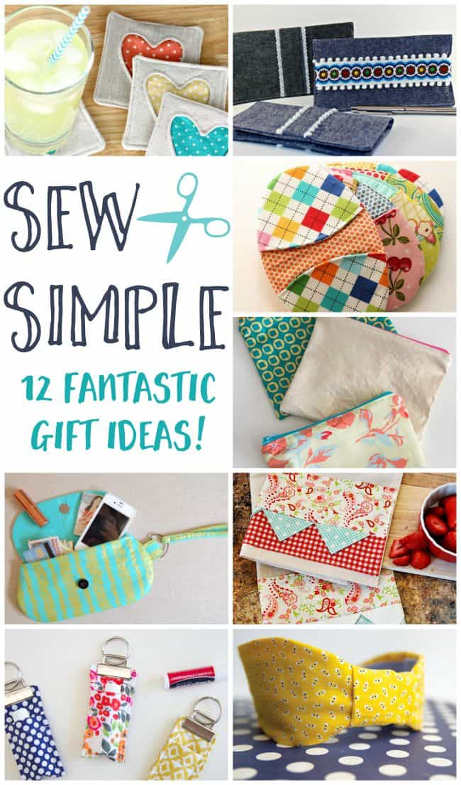 This photo features a collage of sewing gift ideas including a wristlet, hotpads, headbands, and more.
