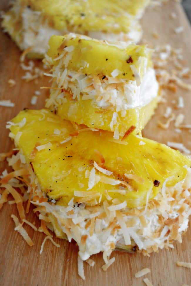 Love this take on a traditional ice cream sandwich. Yummy pineapple, coconut and vanilla goodness.