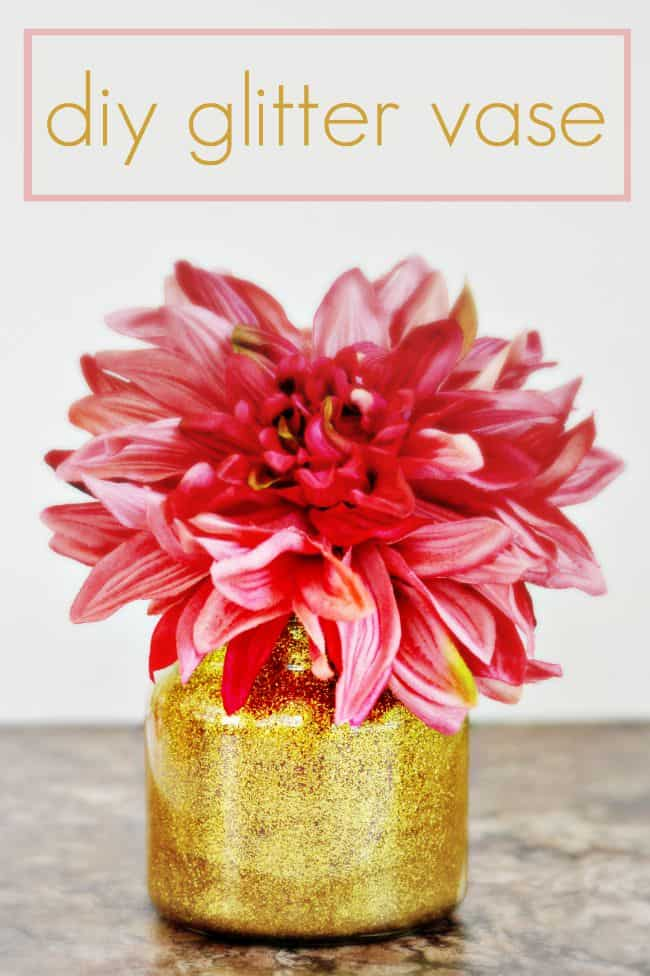 Jazz up your home with this diy glitter vase, perfect for recycling old candle jars.