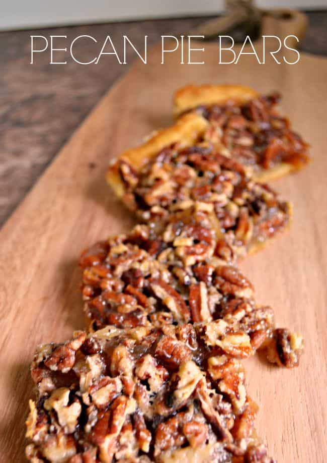 Pecan pie in a bite-sized bar! These pecan pie bars are made with refrigerated crescent rolls making them simple and quick to prepare.