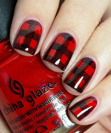 Plaid nail art designs black and white plaid prinsesfo Choice Image
