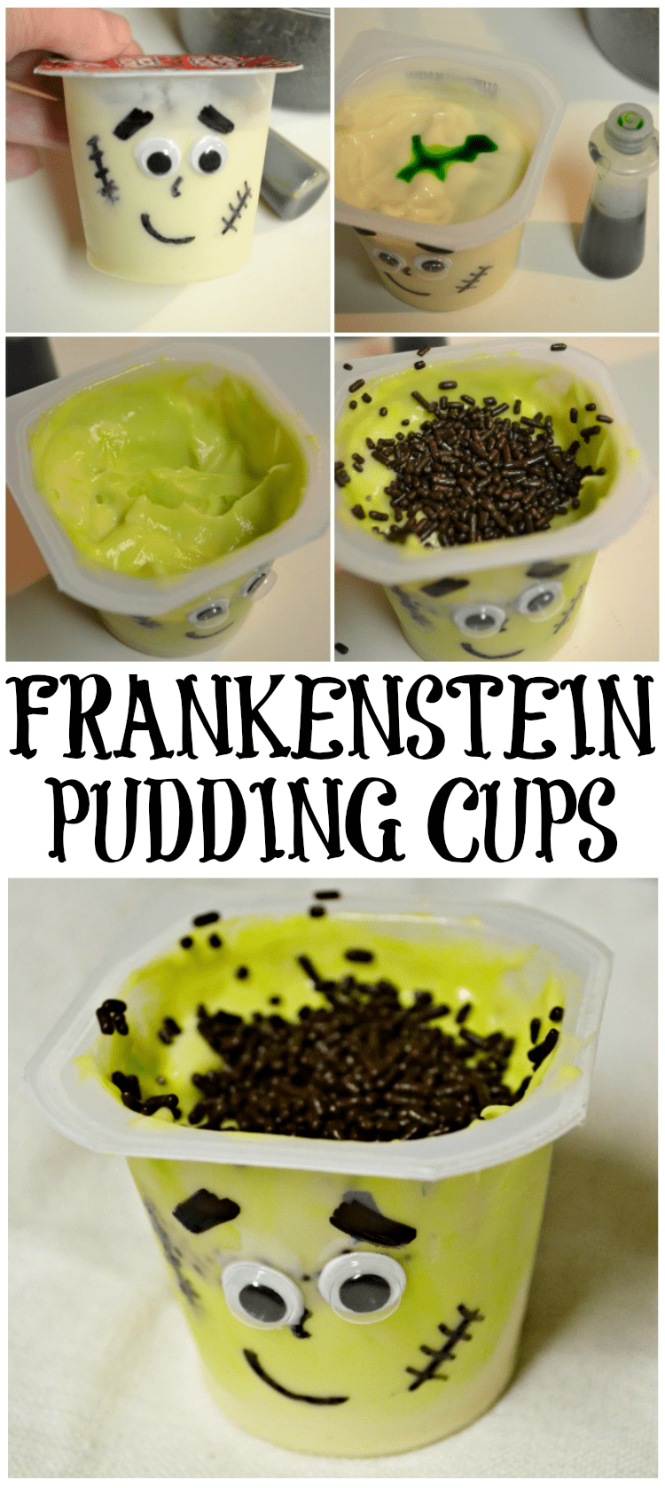Turn a simple cup of pudding into the perfect class Halloween party treat with these super cute Frankenstein pudding cups.