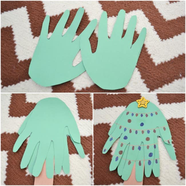 Create this fun Handprint Christmas Tree to remember how big your kiddos hands were this year. Super simple with just two supplies needed. Which you probably already have on hand.