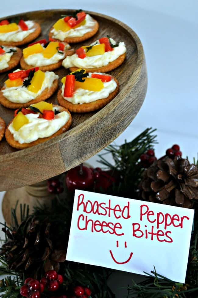 These Roasted Pepper Cheese Bites are so delicious. The smell of the roasted peppers and basil is devine and the garlic butter RITZ crackers add that perfect savory bite.