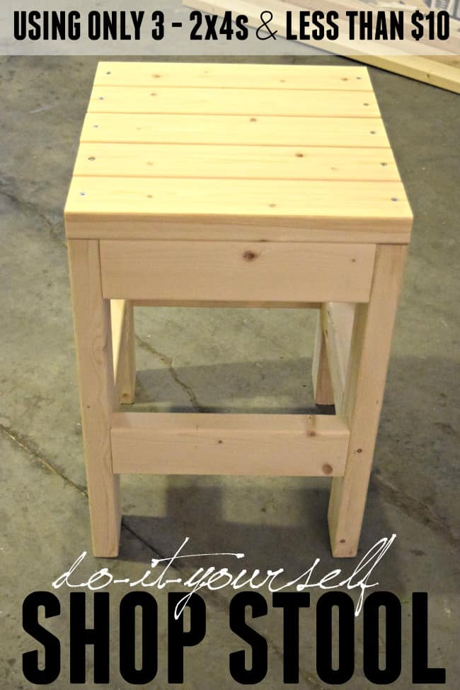 Make this easy DIY Shop Stool using only 3 - 2x4x8 boards. The cost is less than $10. It would also make a great side table or plant stand. #DIYShopStool #ShopStool #Garage #2x4projects #ShopProjects #DIY