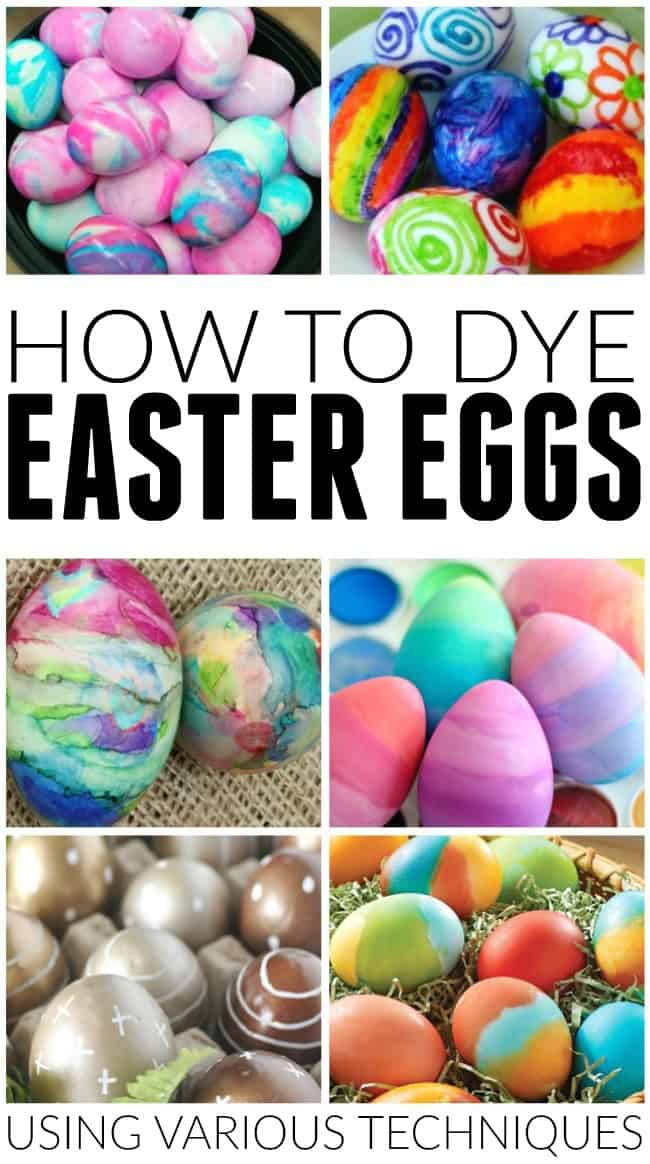 Silk Tie Dyed Easter Eggs. When it comes to the eggs, picking a medium – sized raw eggs might be the best because of their size. You will also need fabric scissors, white cloth, a pot, twist ties and/or rubber bands, vinegar 1/4 cup, tongs, vegetable oil and paper towels.