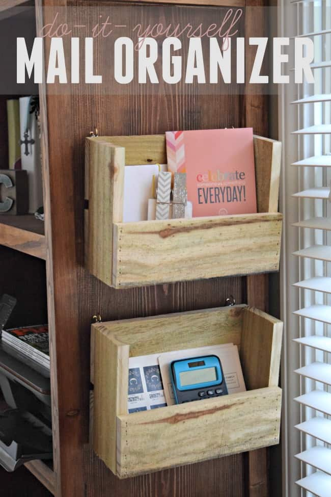 Organize all of your office papers and monthly bills with this diy mail organizer. Simple 30 minute project for approximately $1.25 per organizer.