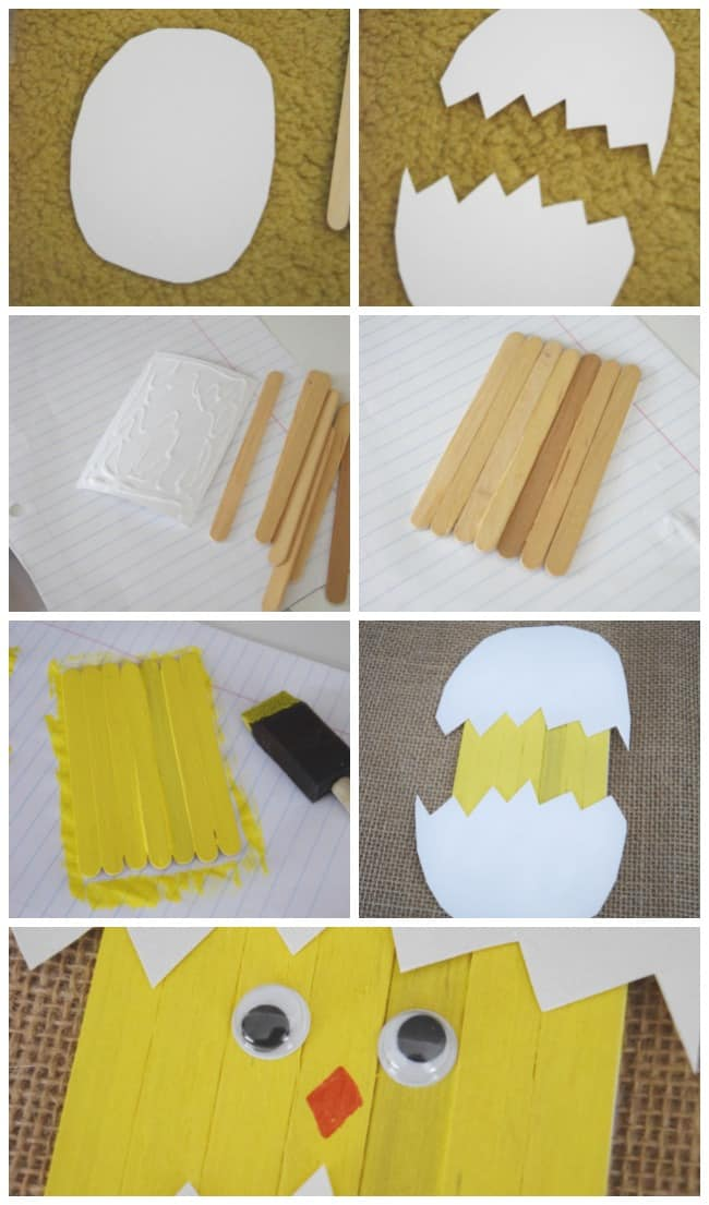 Keep your kids entertained this Easter and create this cute little Popsicle stick Easter chick craft.