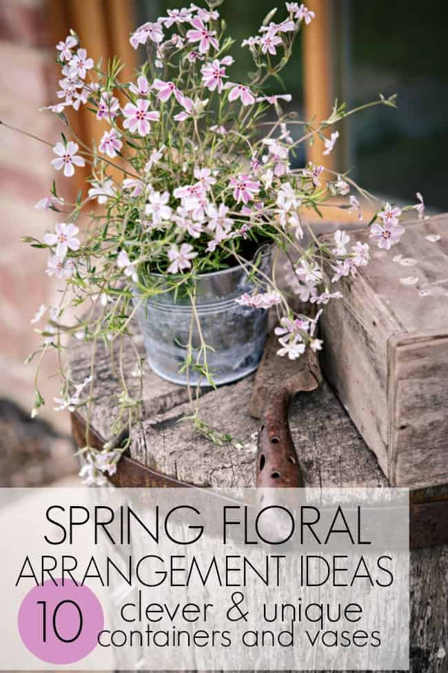 These beautiful spring floral arrangement ideas are great for just a spring centerpiece, wedding centerpieces, or Easter centerpiece. So many simple and great ideas with unique and creative ways to display them.