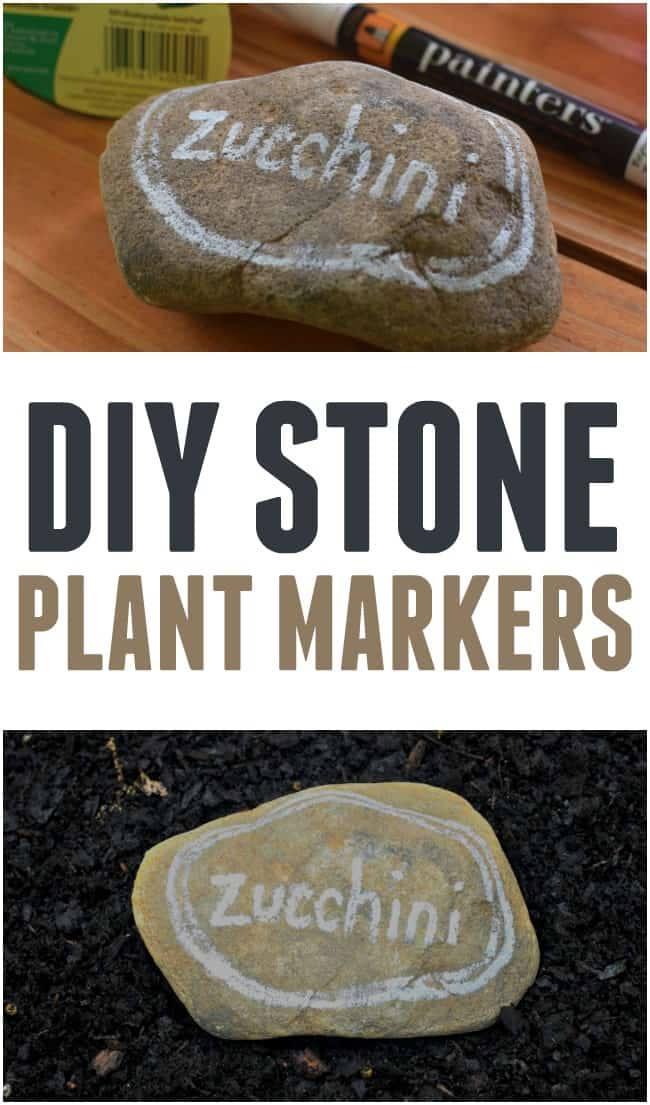 DIY Stone Planter Markers, an easy way to mark your plants each year.