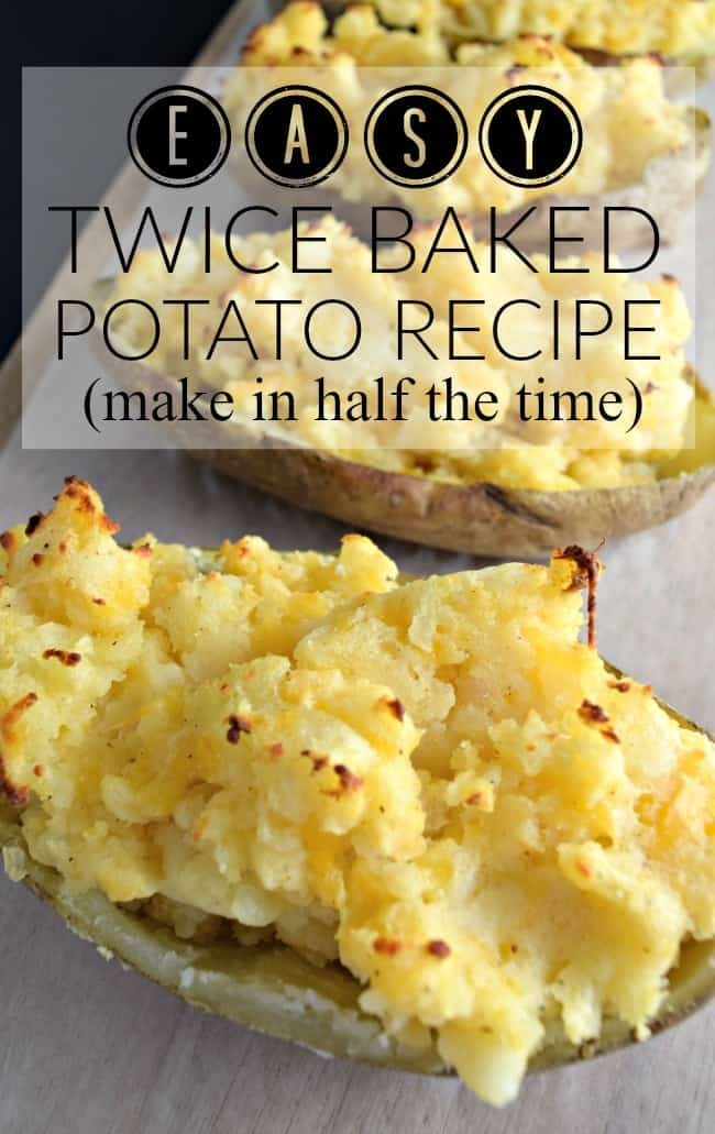 How can you go wrong with an easy twice baked potato recipe with cheese, bacon, green onions and butter? Super simple to make and half the time as the normal method.