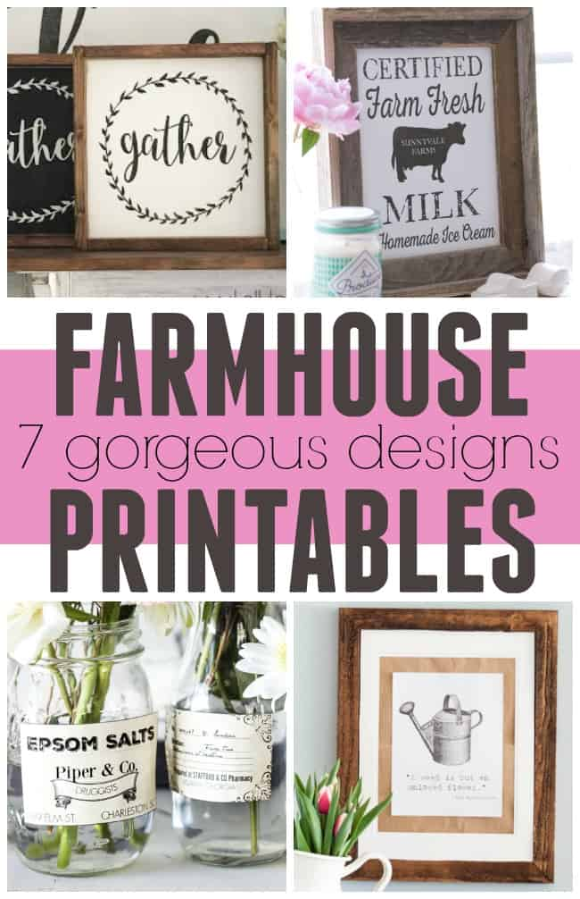 Free Farmhouse Printables! These gorgeous prints are perfect for framing and putting up on your wall and bonus they are all FREE. #FarmhousePrintables #FreePrintables #Printables #Farmhouse