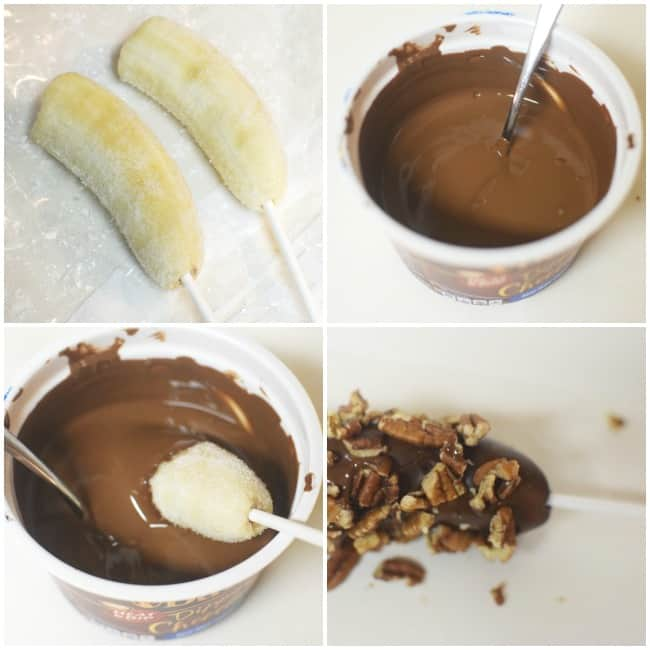 Looking for a perfect summertime dessert? How about trying out these Chocolate Covered Frozen Bananas. Perfect for a hot summer day!