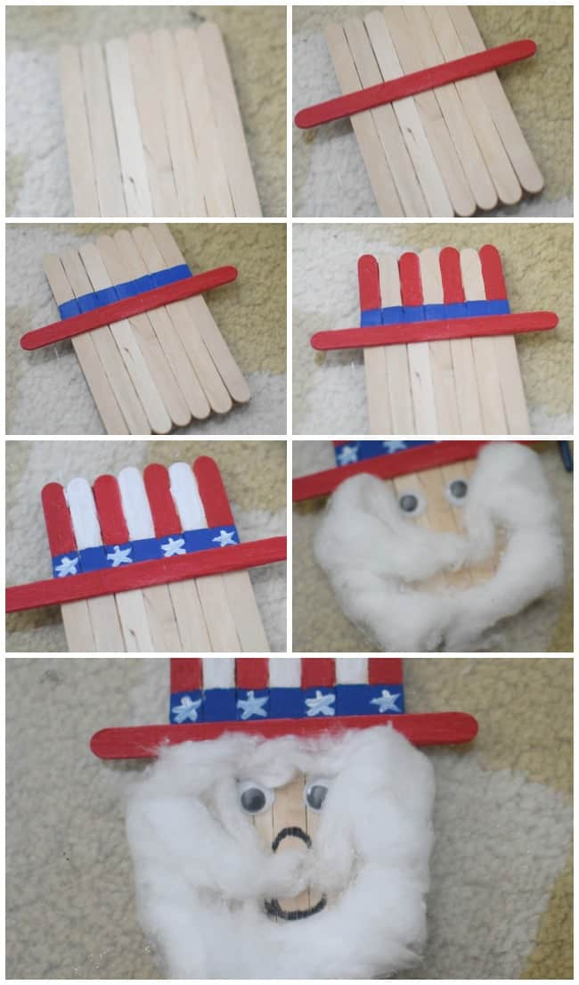 Celebrate 4th of July with your kids this year by creating this super cute popsicle stick Uncle Sam.