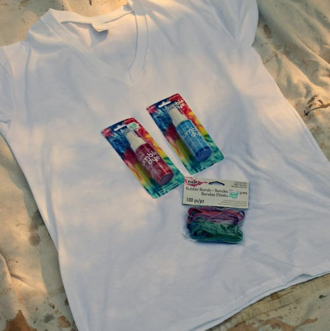Make Tie Dye Shirts with these supplies.