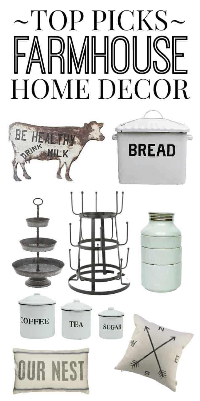 Looking for the top picks in farmhouse home decor? Then look no further because this list has all of the best finds online. New stuff adding constantly! Great ideas for budget friendly farmhouse picks.