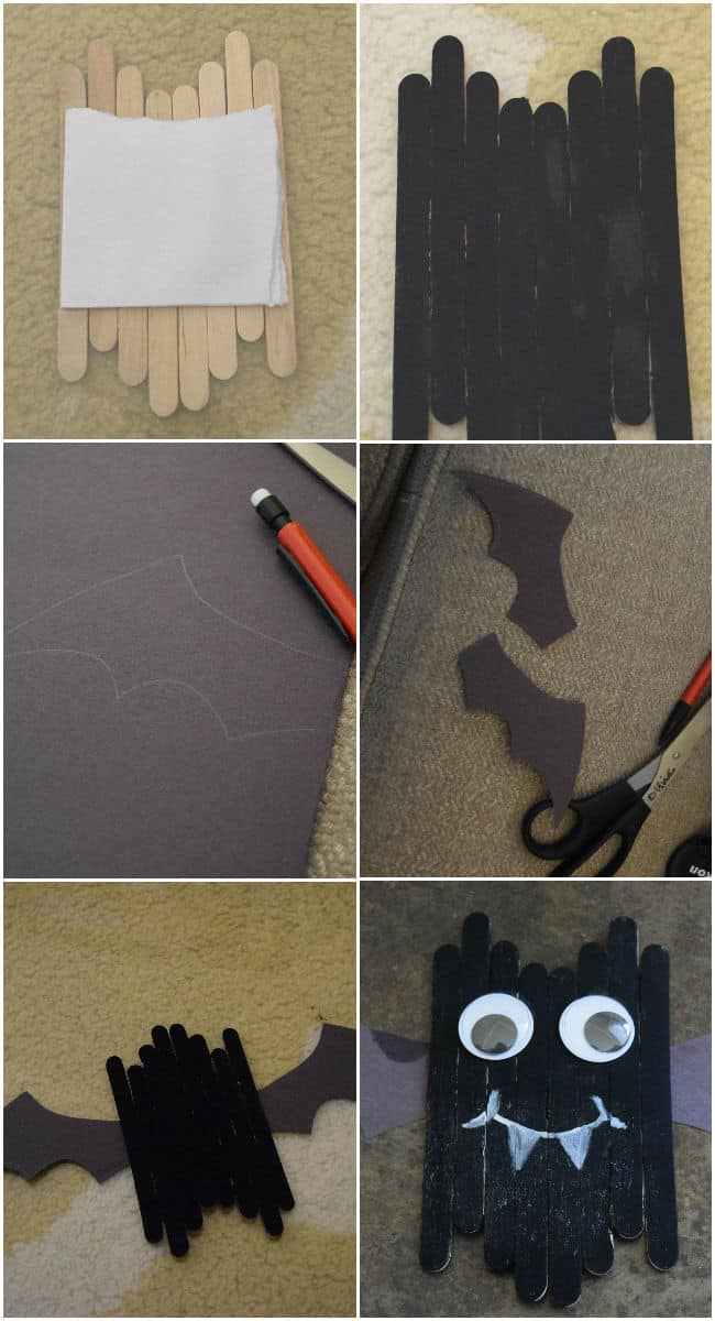 Create this cute little popsicle stick bat craft with your kids this Halloween. Simple and little needed in the way of supplies.