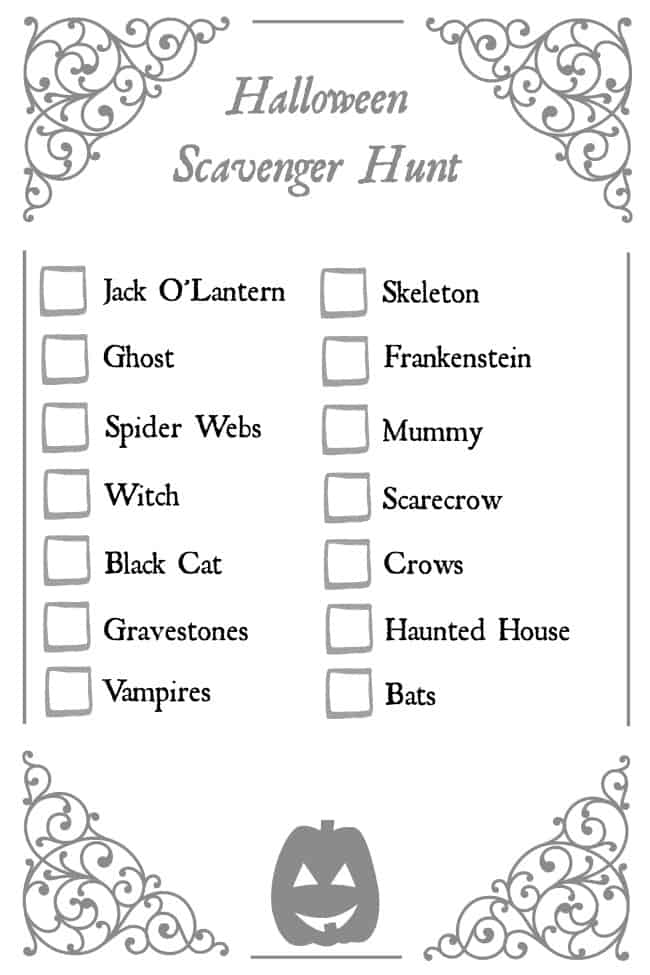 The perfect Halloween Scavenger Hunt for Halloween night. Find out of these spooky items while out hunting candy too.