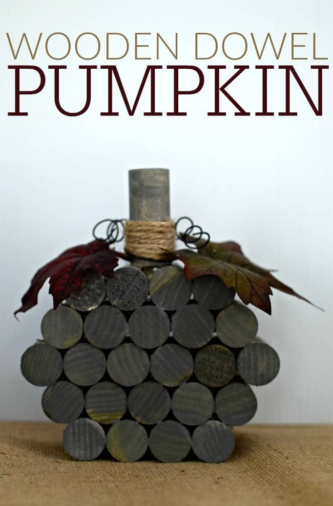 This super simple and inexpensive wooden dowel pumpkin cost less than $5 dollars and 30 minutes to make. Fun homemade fall and Halloween holiday decor!