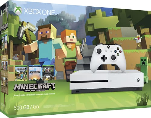If you are looking to snag up some of these Minecraft games and collectibles before Christmas then Best Buy is your spot. They carry a large assortment of Minecraft products, including the Xbox One S Console bundle.