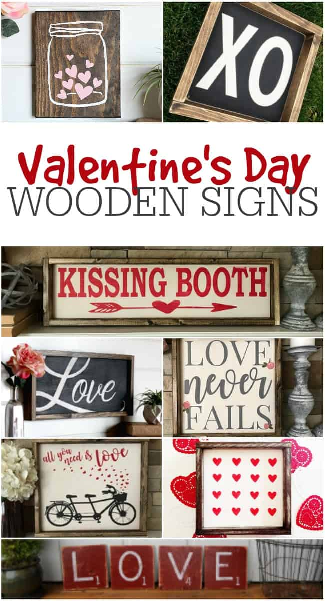 This photo is a collage of various Valentine's Day Wooden Signs that you can purchase.