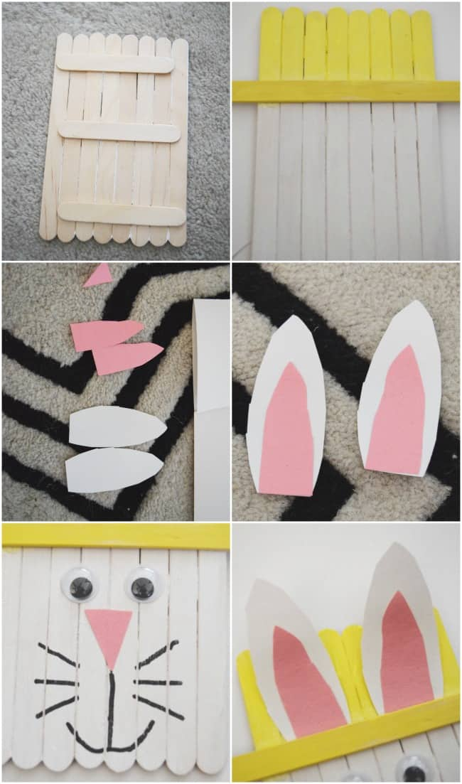 Popsicle Stick Easter Bunny Craft For Preschoolers