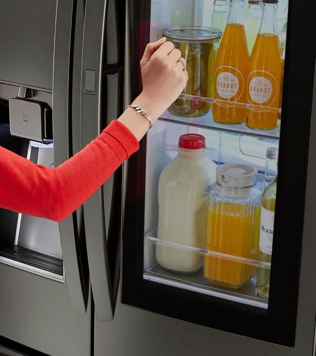 Check out all the awesome features of the LG Instaview refrigerator! The twice knock feature allows you to see what's inside without letting out cold.