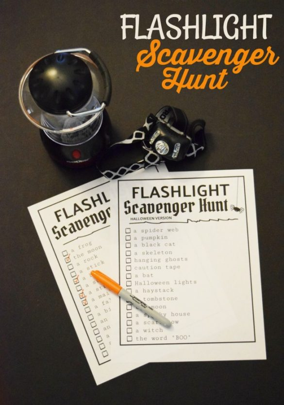 Let's go on a Flashlight Scavenger Hunt! Grab a flashlight and this free printable to have a fun-filled evening with your family and friends. Great for all ages!