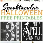 Celebrate the day of ghosts and goblins with these spooktacular Halloween free printables with witches, skulls, pumpkins and more.