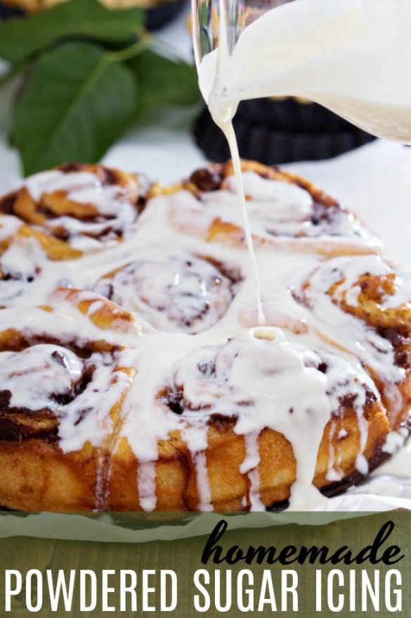 This simple, fast and easy powdered sugar icing is perfect for all your cookies, cinnamon buns, breads, pound cakes and more.