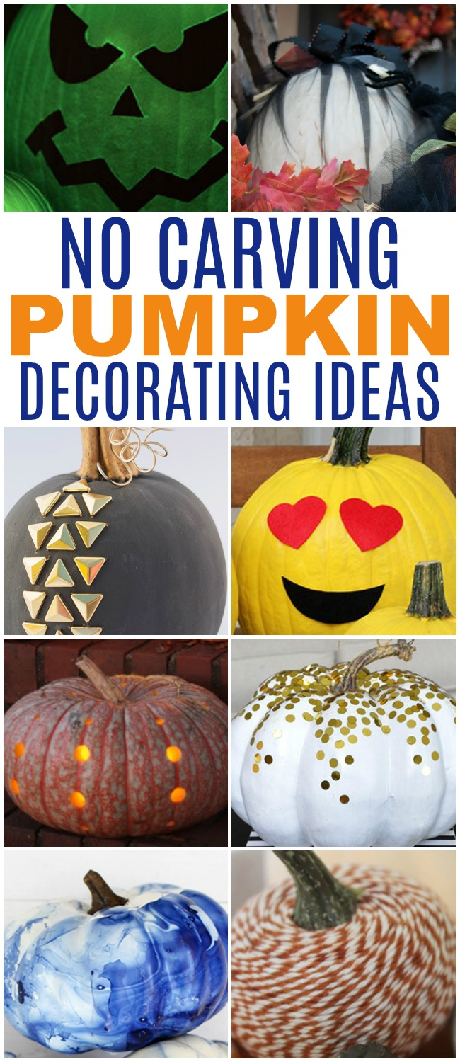 No carving pumpkin decorating ideas is just what you need when you have little kids. No need for a knife, these no-carve pumpkin ideas are all kid-friendly.