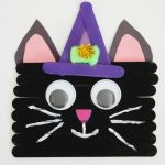 No need to be superstitious of this popsicle stick black cat.It's frightening what kids can make for Halloween with some craft sticks and paint.