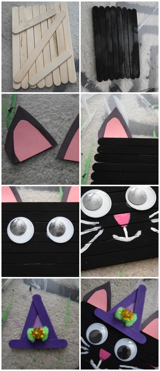 No need to be superstitious of this popsicle stick black cat. It's frighteningly cute what kids can make for Halloween with some craft sticks and paint.