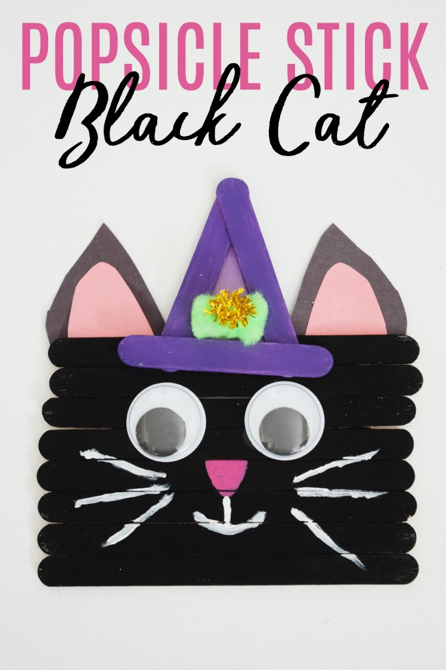 No need to be superstitious of this popsicle stick black cat. It's frighteningly cute what kids can make for Halloween with some craft sticks and paint.  #Halloween #BlackCat #PopsicleStickCrafts #kidcrafts #crafts