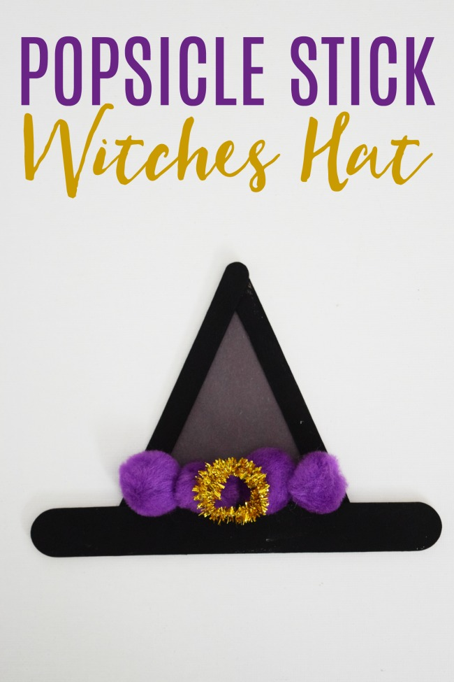 The popsicle stick witches hat, as an iconic symbol of Halloween this witches hat craft is perfect for crafting with your kids this season.  #Halloween #CraftingwithKids #WitchesHat #PopsicleStickCrats #crafts #kidcrafts