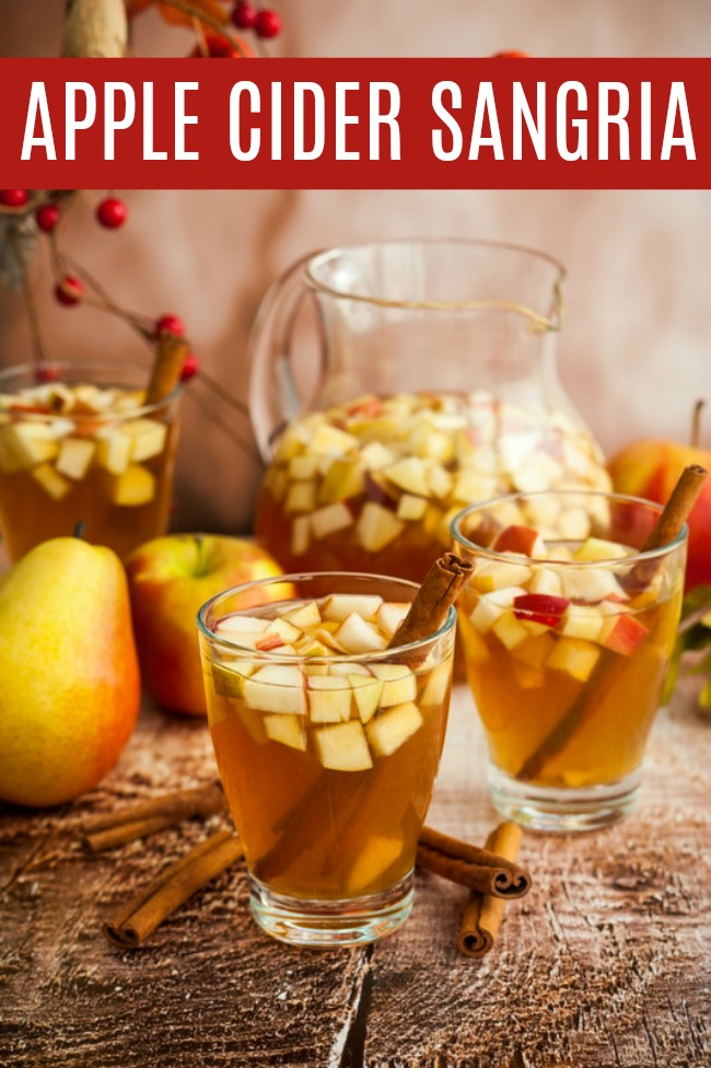 Apple Cider Sangria filled with some of your favorites white wine, apple cider, brandy, apples, and pears. A fun and festive drink for the season. #Recipes #AppleCider #Apples #Sangria #AppleCiderSangria #Fall #Beverage