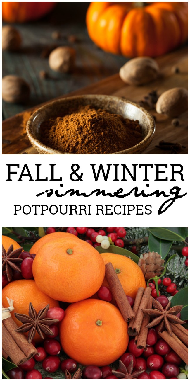 This photo features an assortment of fall potpourri and winter potpourri. In the middle is a banner reading Simmering potpourri recipes