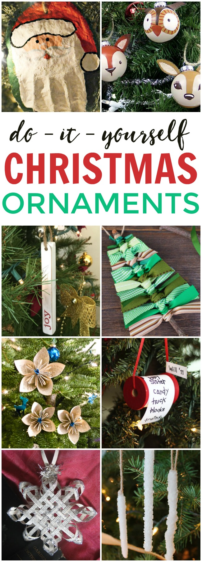 This photo features a collage of DIY Christmas Ornaments.