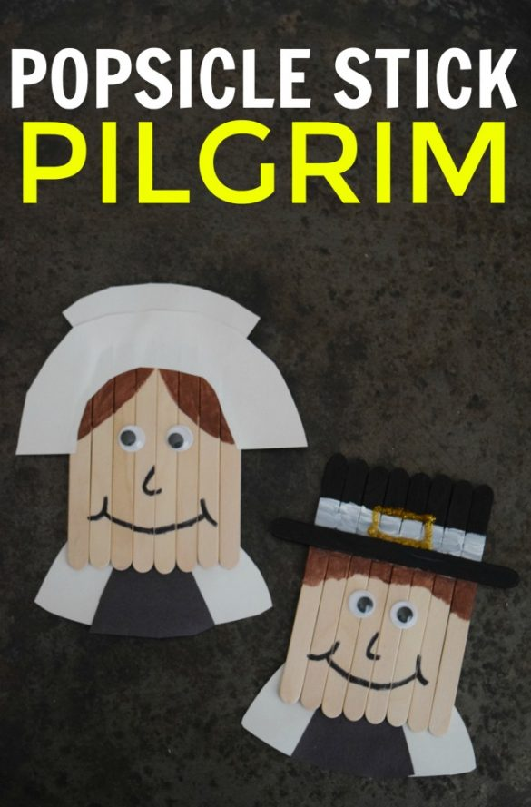 Keep the kids out of the kitchen and entertained this Thanksgiving with a fun Popsicle Stick Pilgrim craft.Just a few simple supplies are all you need!