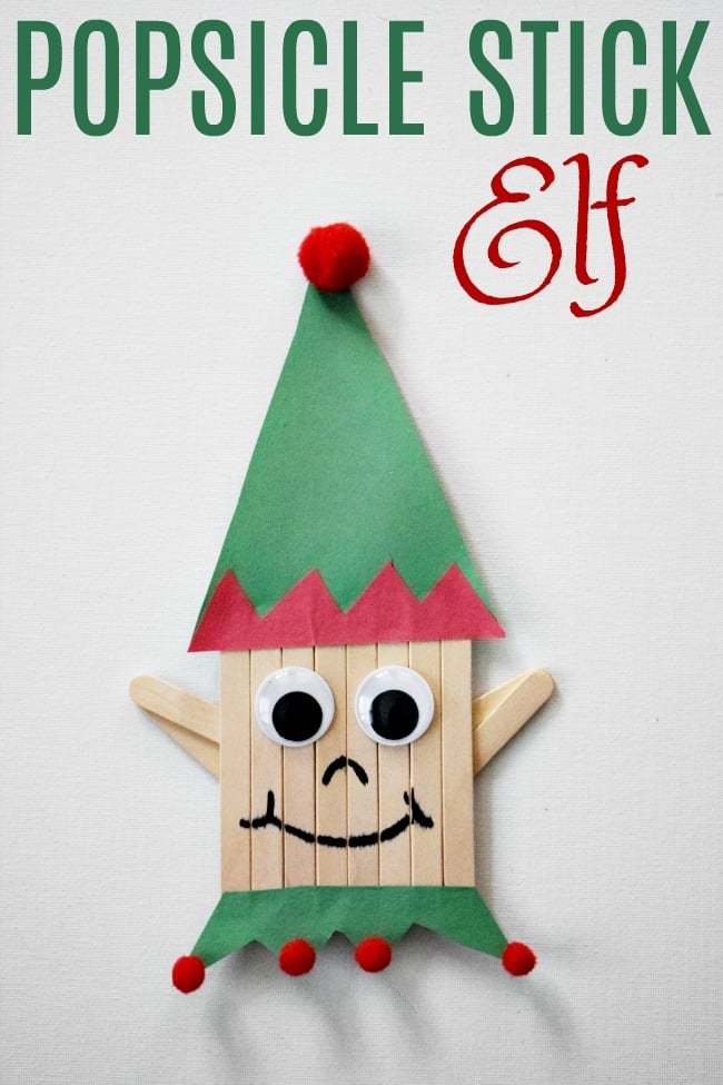 This popsicle stick elf craft is perfect for getting into the spirit of the holiday season. Now that the kids are on Christmas break, pull out the art supplies and get to creating this Santa's little helper.  #PopsicleStickCrafts #Christmas #ChristmasCrafts #ElfontheShelf #ElfCrafts