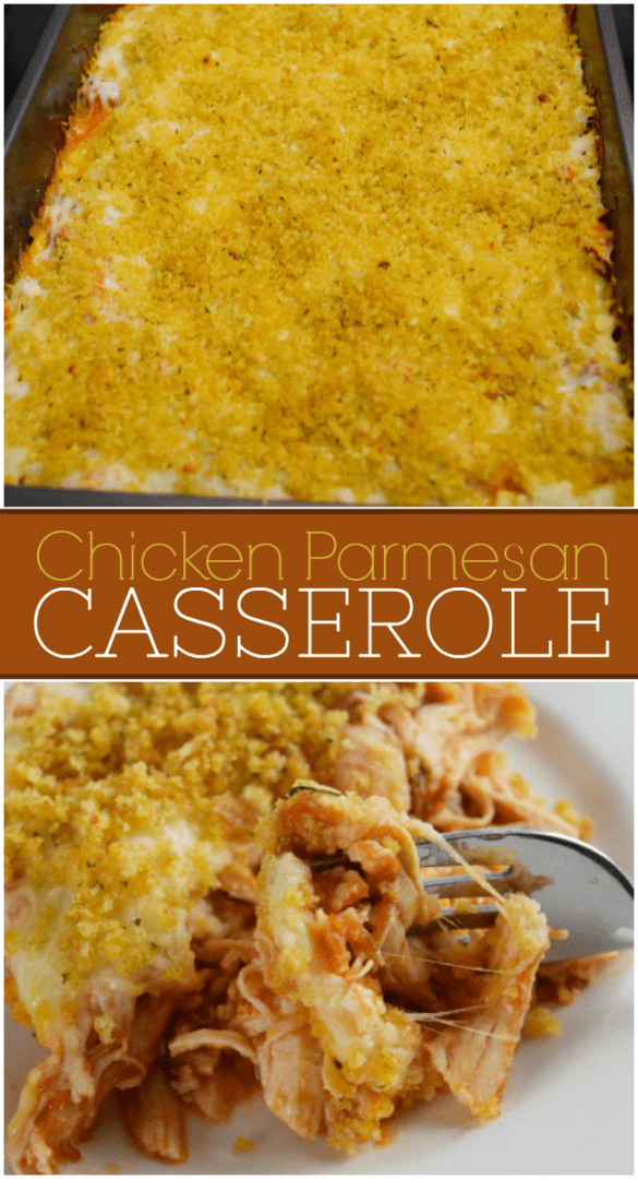 This easy chicken parmesan casserole is a cheesy, crowd-pleasing casserole that can be ready to bake in 10 minutes. A super easy weeknight meal that will feed a whole crowd. #ChickenParmesanCasserole #EasyChickenParmesan #ChickenParmesan #CasseroleRecipes #ChickenRecipes