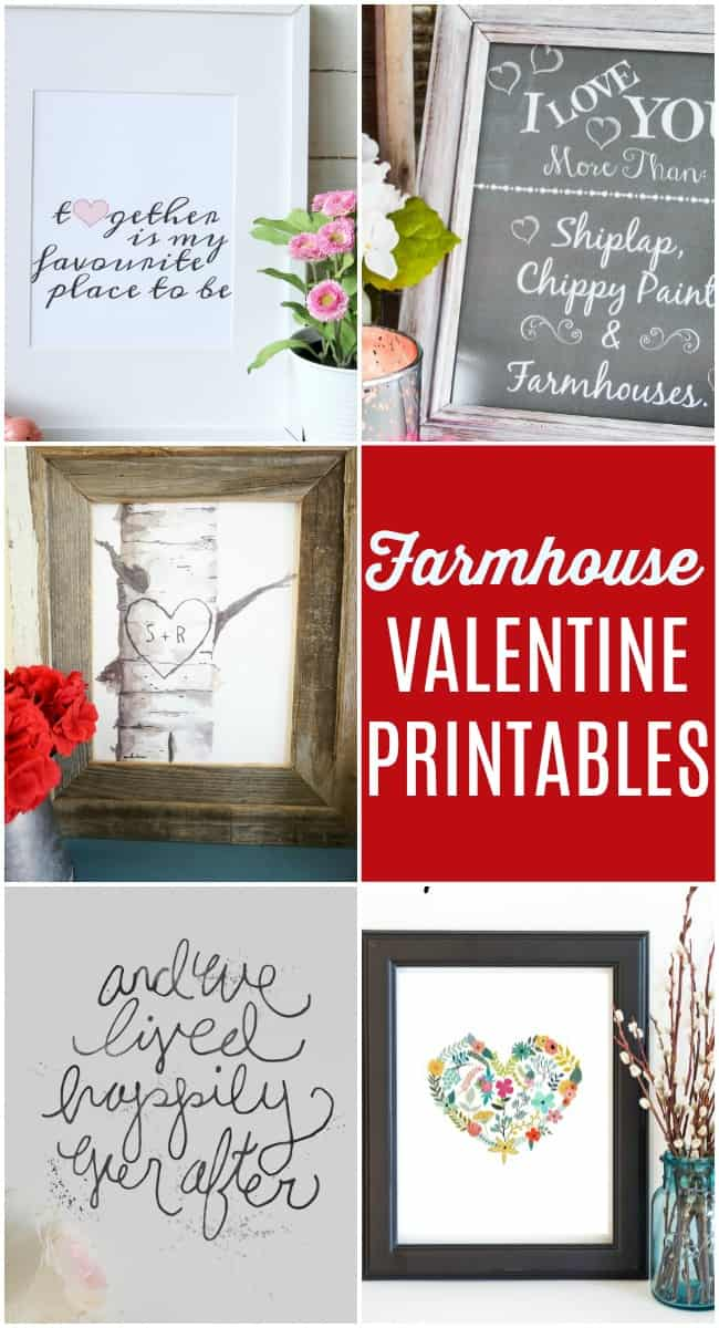 Free Valentine Printables are the perfect way to add a little Farmhouse style valentine decor without spending a dime or going to crazy in the cutesy decor.  #ValentinesDay #ValentinePrintables #FreePrintables #Farmhouse #ValentinesDayDecor