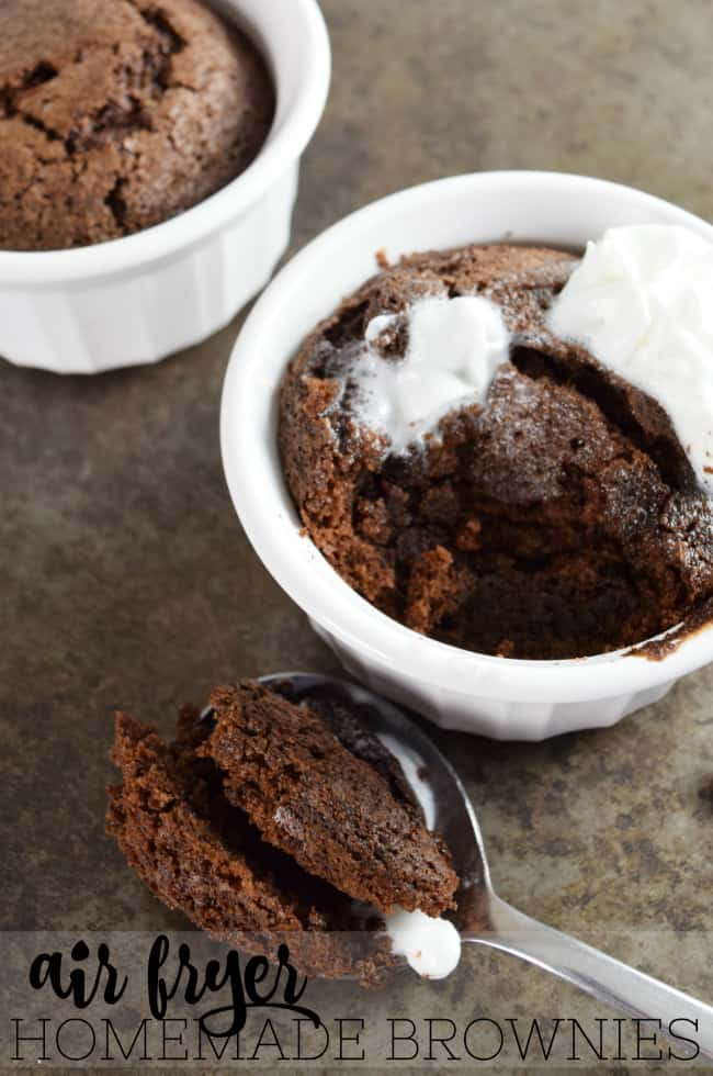 Homemade brownies from scratch are the perfect, quick and easy, date night dessert. They take only a few minutes to whip up in the air fryer to satisfy your chocolate cravings. #HomemadeBrownies #Brownies #AirFryerRecipes #BrownieRecipes