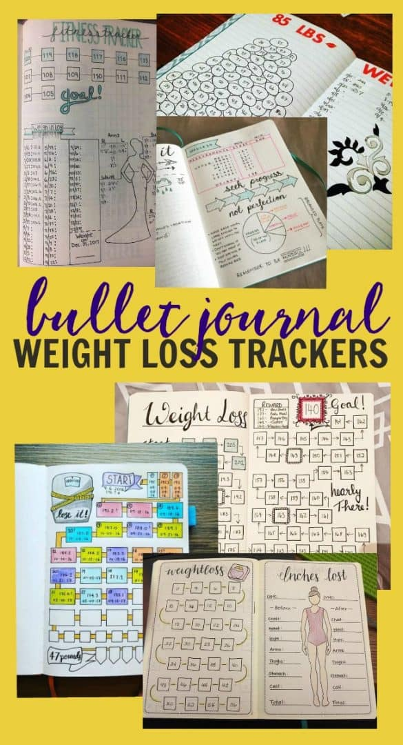 These weight loss tracker ideas are a great way help you lose weight by tracking your caloric intake quickly and easily all inside your bullet journal. #bulletjournal #weightlosstrackers #weightlosstracker #bulletjournaling #bulletjournalideas #weightloss #planners