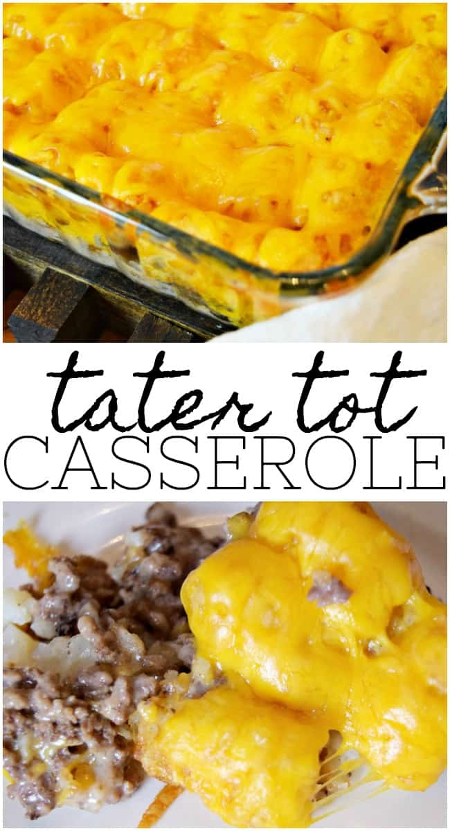 This tater tot casserole recipe is mouth-watering good. All you need is 5 simple ingredients to get started. The cream of mushroom soup gives it that creamy goodness. So good you may want to make a double batch of leftovers the next day. #TaterTotCasserole #TaterTotRecipes #CasseroleRecipes