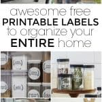 These printable labels are ready for you to get your home organized beautifully. De-clutter and de-stress with all of these fun labels. They will help you organize every space of your home -- from the entry to the kitchen and everything in between. #PrintableLabels #FreePrintables #Printables #FreePrintableLabels #Labels