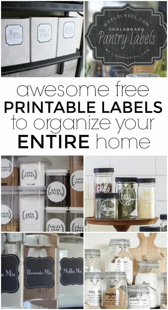 These printable labels are ready for you to get your home organized beautifully.De-clutter and de-stress with all of these funlabels.They will help you organize every space of your home -- from the entryto the kitchen and everything in between. #PrintableLabels #FreePrintables #Printables #FreePrintableLabels #Labels