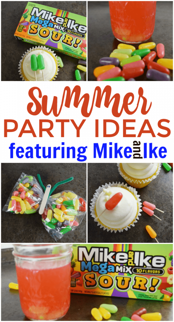 Summer partiesare always the most anticipated events of the year. Make your party count with special touches like these summer party ideas featuring Mike and Ike MegaMix Sours including mini popsicle cupcake toppers and candy infused drinks. #Summer #PartyIdeas #SummerParties #MikeandIke #Colorful