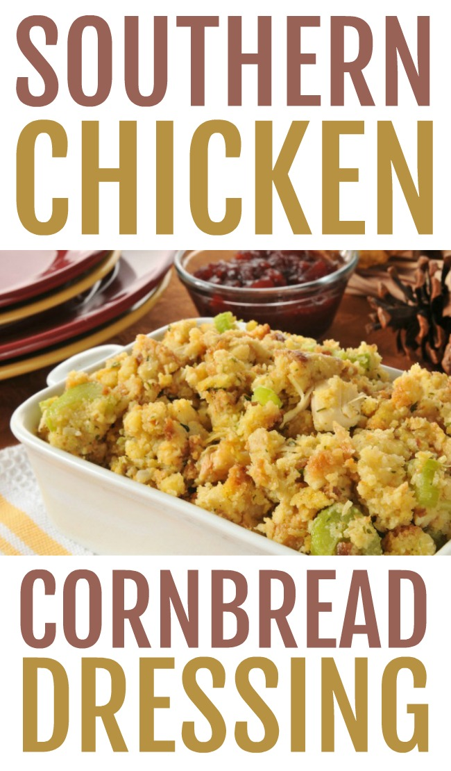 This photo features a white casserole dish filled with Southern Chicken Cornbread Dressing and labeled with the same.